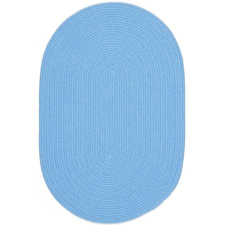 Blue Rug Braided Solid Color 2 Foot By 4 Foot Oval Soft
