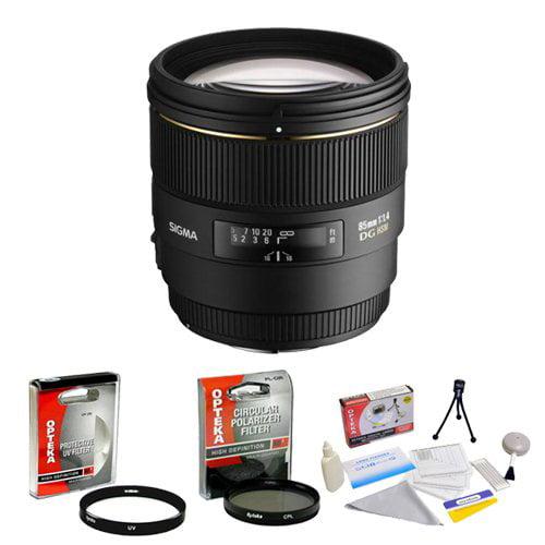 Sigma 85mm f/1.4 EX DG HSM AF Prime Lens for Nikon + Opte...