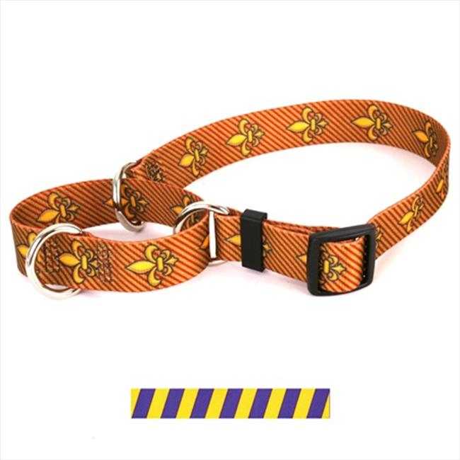Yellow Dog Design M-TSGP103L Team Spirit Gold and Purple Martingale Collar - Large