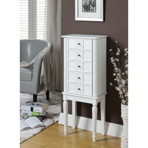 A&J Homes Studio Tammy Free standing Jewelry Armoire with Mirror