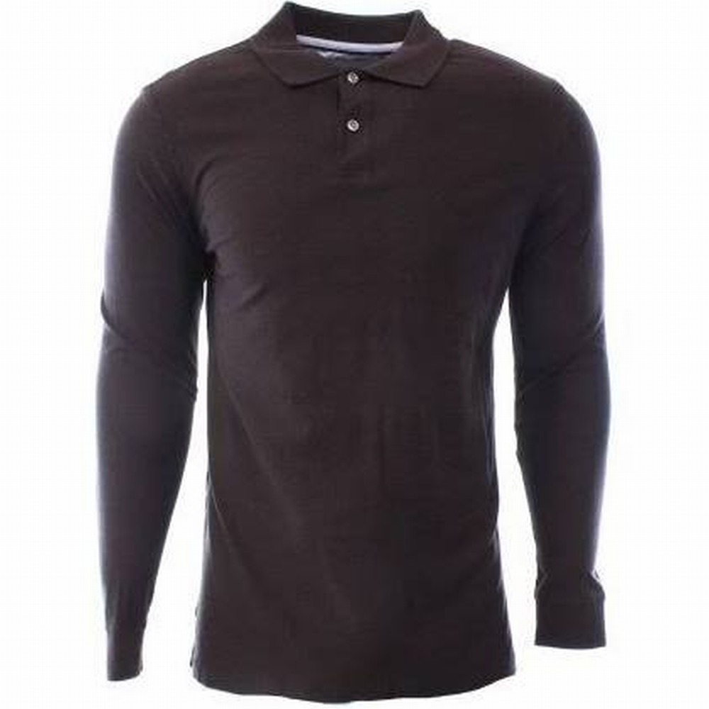 Tasso Elba NEW Brown Mens Size 2XL Long Sleeve Polo Rugby Shirt