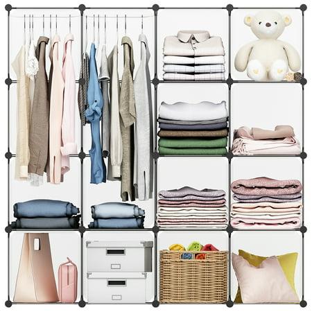 Langria 16 Cube Organizer Stackable Plastic Storage Shelves Diy Modular Closet Cabinet With Hanging Rod White