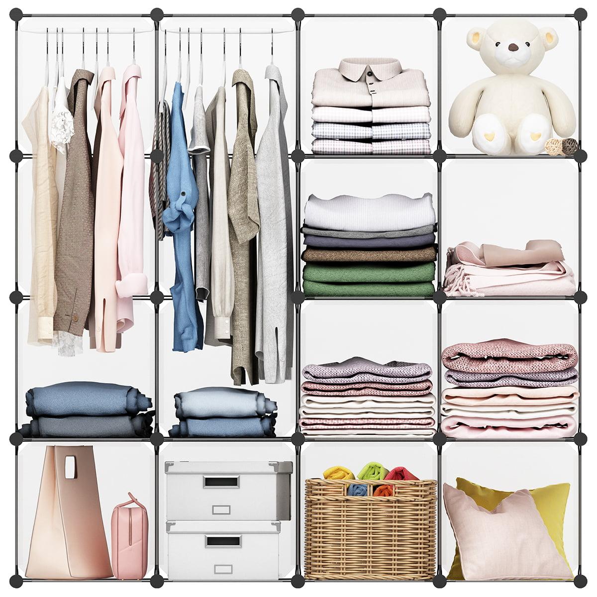 LANGRIA 16-cube Modular Clothes Shelving Storage Organizer DIY Plastic Shoe Rack Cabinet Translucent, White