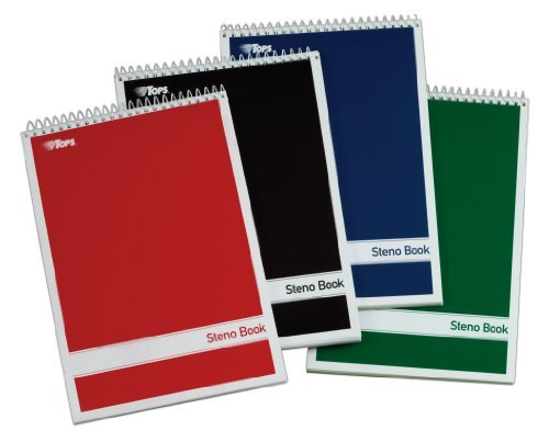"""Tops Gregg-ruled Steno Book - 80 Sheets - Printed - Wire Bound - 15 Lb Basis Weight 6"""" X 9"""" - White Paper - Red, Green, Black, Blue Cover - 4 / Pack (80220_40)"""
