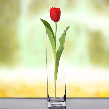 "Efavormart 16"" Tall Square Glass Centerpiece Vase -1PC"