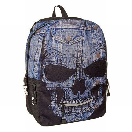 Mojo Mr Peterson Denim Skull Backpack Sport School Travel Pack Tech