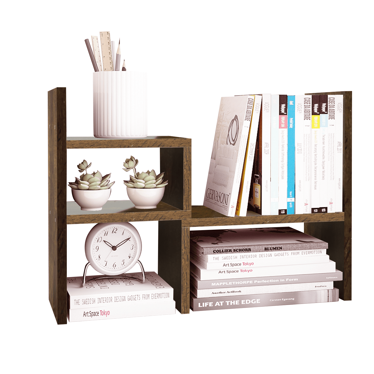 THY COLLECTIBLES Bamboo Desk Organizer with Extendable Storage Multi-Function Stationary Organizer For Office and Home Expandable Desk Tidy Bamboo Bookshelf
