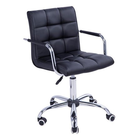 HomCom Modern PU Leather Midback Executive Office Chair Brown Bomber Leather Executive Chair