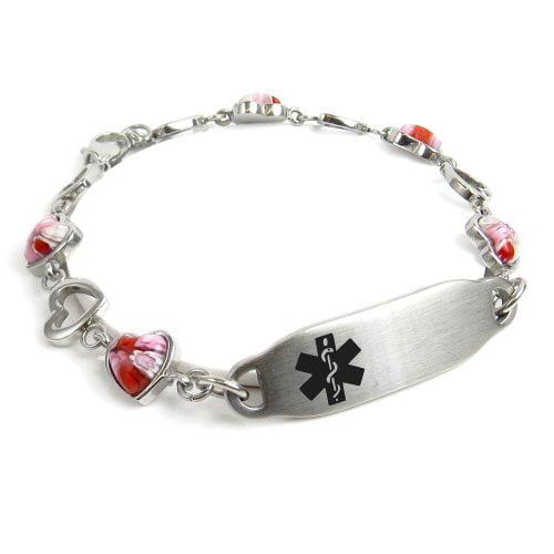 Red Millefiori Glass My Identity Doctor Black Pre-Engraved /& Customized Blood Type AB ID Bracelet