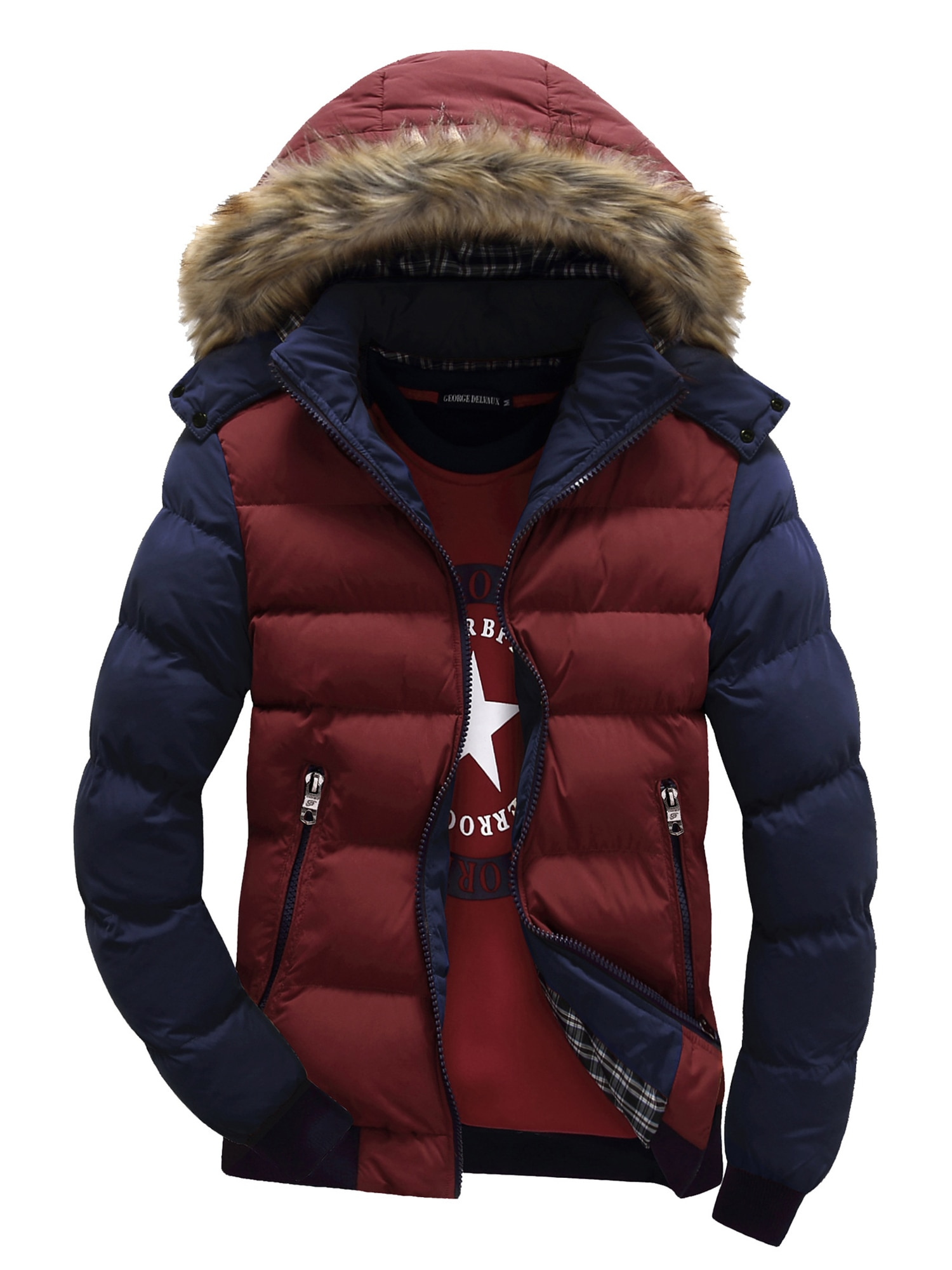 Men Hooded Down Jackets Daily Warm Winter Outwear Zip Up Colored Coat M-4Xl