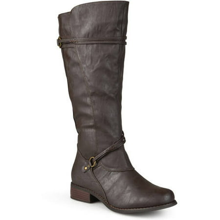 Calf High Platform - Women's Extra Wide Calf Knee High Faux Leather Riding Boots