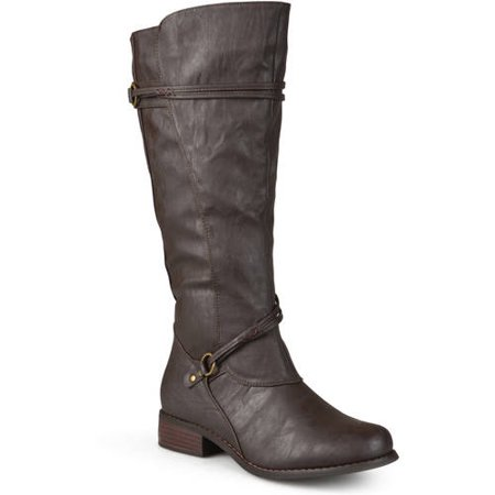 Burgundy Leather Calf Boots - Women's Extra Wide Calf Knee High Faux Leather Riding Boots