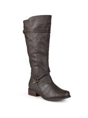 Women's Extra Wide Calf Knee High Faux Leather Riding Boots