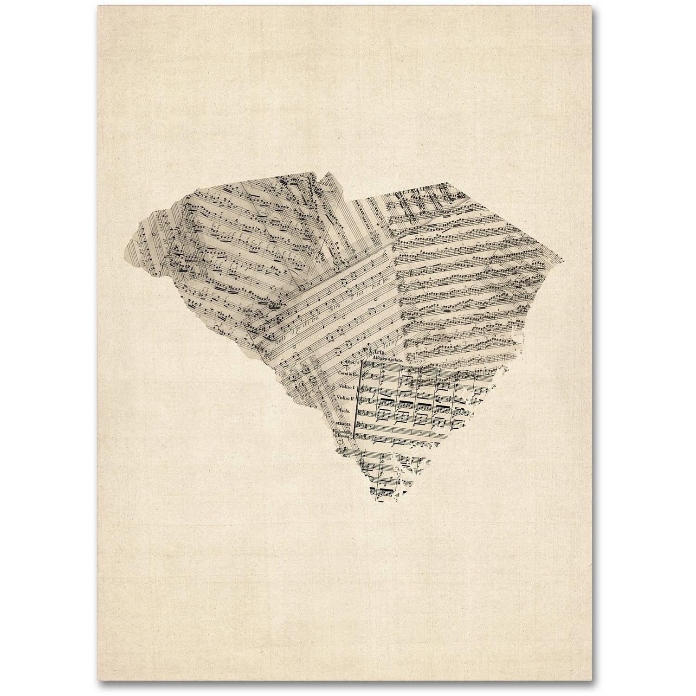 "Trademark Fine Art ""Old Sheet Music Map of South Carolina"" Canvas Art by Michael Tompsett"
