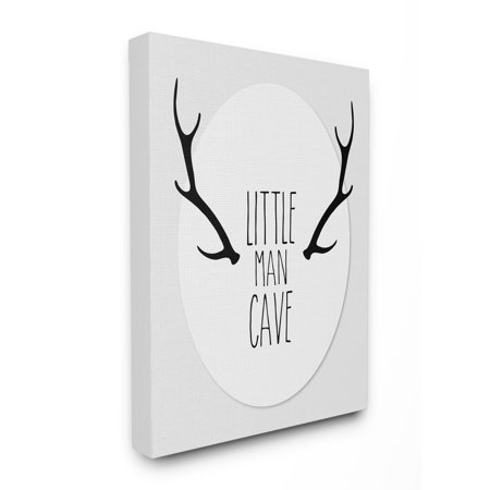 The Kids Room by Stupell Black and Grey Little Man Cave Antlers Oversized Stretched Canvas Wall Art, 24 x 1.5 x 30