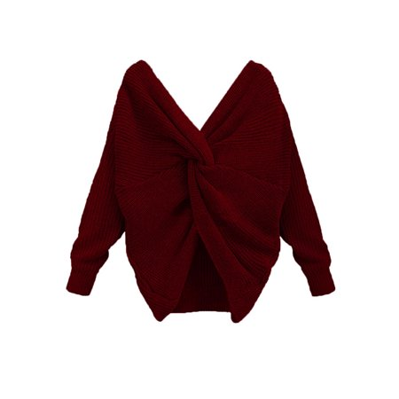 OUMY Women V-neck Knotted Backless Knitted Long Sleeves Sweaters