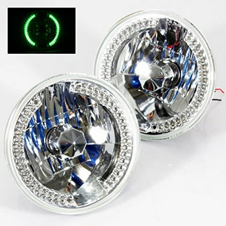 "1962-1965 Ford Ranchero 7"" Round 6014/6015/6024 Chrome Diamond Headlights Green LED Halo Ring Set"