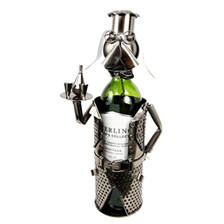 Atlantic Collectibles Beagle Dog Party Cocktail Waiter Butler Hand Made Metal Wine Bottle Holder Caddy Decor Figurine 13.75