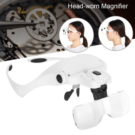 Anauto Eyeglass-Type Headband Magnifier with 5 Lens LED Light for Jewelry Checking Watch Repairing , Headband Magnifier, Headband