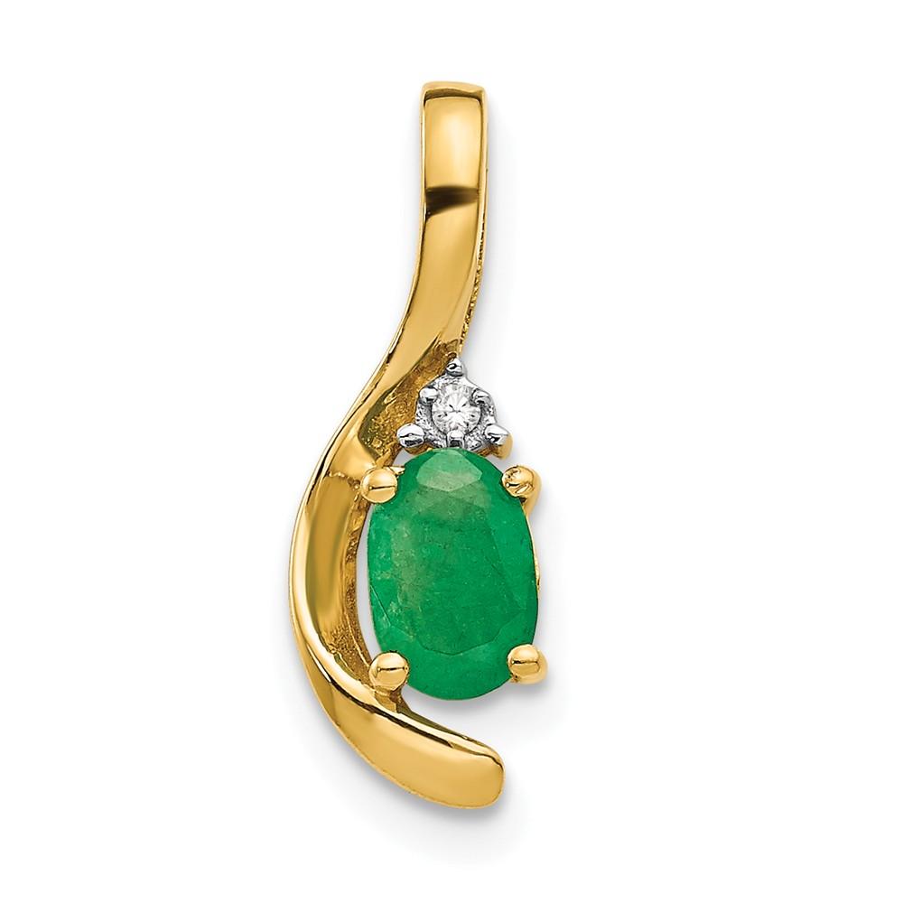 14k Yellow Gold 6x4 Oval Diamond & Genuine Emerald Pendant. Carat Wt- 0.46ct