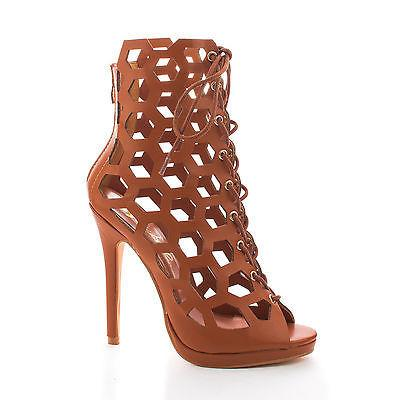 Isabella02 by Wild Rose, Honey Comb Cut Out Peep Toe Lace...