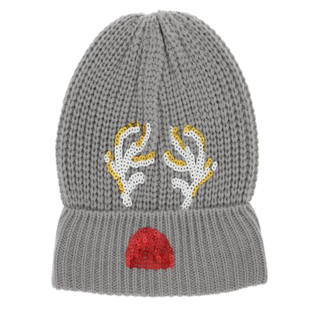 GMI Women's Christmas Beanies with Pom Pom (Sequin Reindeer Antlers)