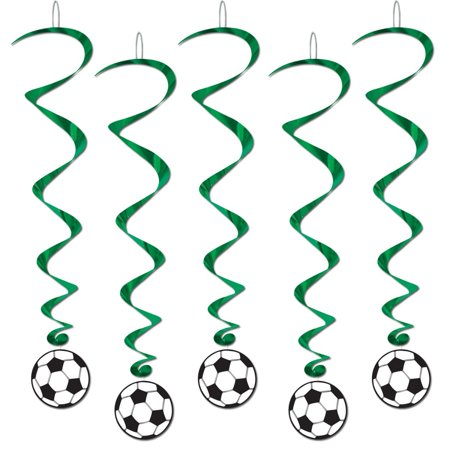 Club Pack of 30 Soccer Ball Cut-Out with Green Dizzy Dangler Hanging Party Decorations 40