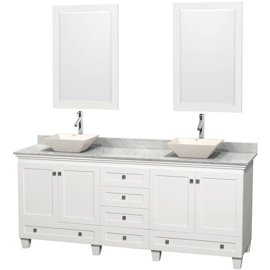 Wyndham Collection Acclaim 80 inch Double Bathroom Vanity in White, White Carrera Marble Countertop, Pyra Bone Porcelain Sinks, and 24 inch Mirrors
