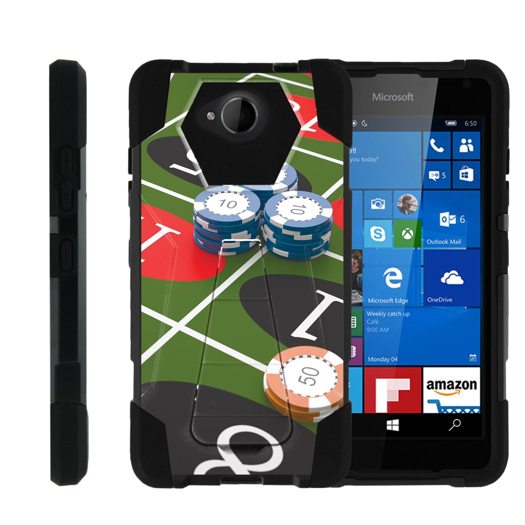 TurtleArmor ® | For Microsoft Lumia 650 [Dynamic Shell] Dual Layer Hybrid Silicone Hard Shell Kickstand Case - Roulette Gamble