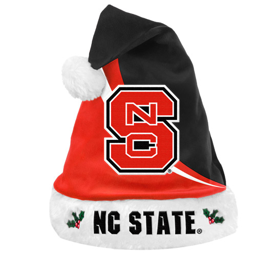 Forever Collectibles NCAA Swoop Logo Santa Hat, North Carolina State Wolfpack