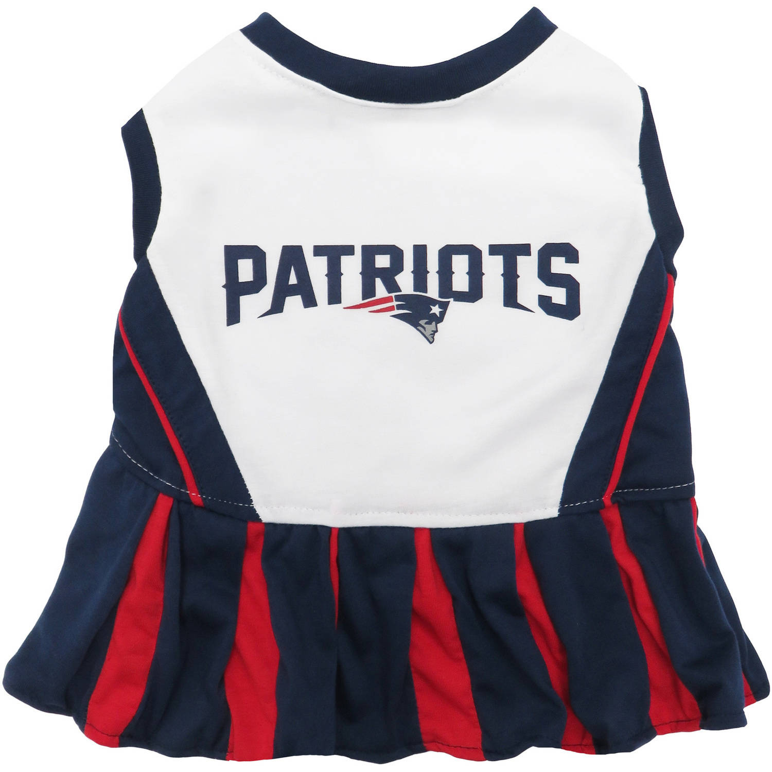 Pets First NFL New England Patriots Cheerleader, 3 Sizes Pet Dress Available. Licensed Dog Outfit