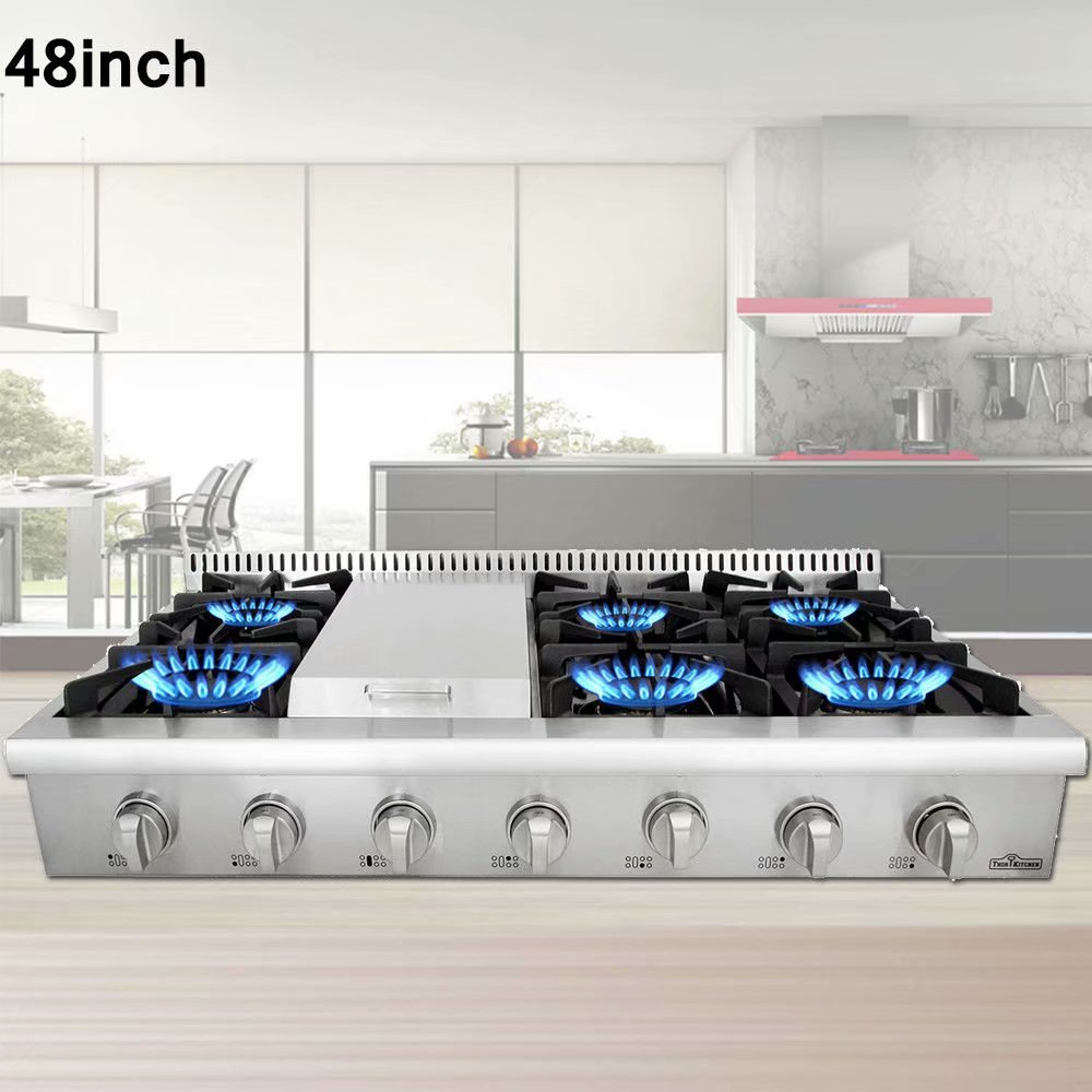 "Thor Kitchen 48"" Freestanding Gas Range Cooktop with 6 Burners Griddle HRT3003U"
