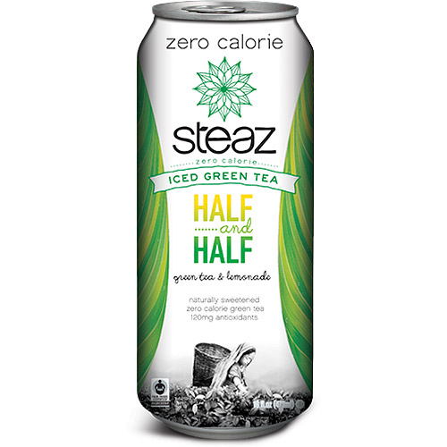 Steaz Half...and Half Zero Calorie Iced Green Tea, 16 fl oz, (Pack of 12)