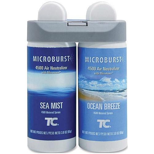 Rubbermaid Microburst 4500 Air Neutralizer Duet Ocean Breeze/Sea Mist Fragrance Refills, 3 oz, 2 pack