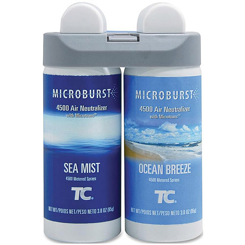 Rubbermaid Microburst 4500 Air Neutralizer Duet Ocean Breeze/Sea Mist Fragrance Refills, 3 oz, 2 pack