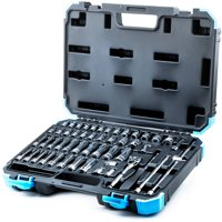 """Capri Tools 1/4"""" Drive Master Socket Set with Ratchets, Adapters and Extensions, 51 Pieces"""