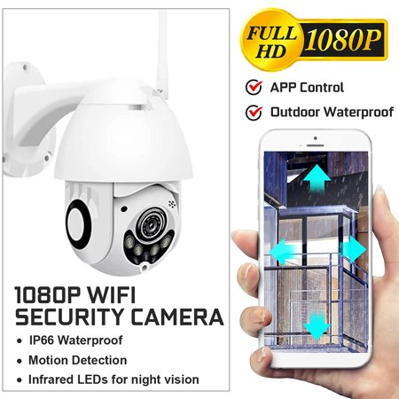 HD 1080P 2MP Outdoor Waterproof IP Security Camera Baby Wireless WIFI Phone APP Control Baby Home Security Monitor IR Night Vision Motion Detection Built-in MIC Speaker (Video Camera Security W Speaker)