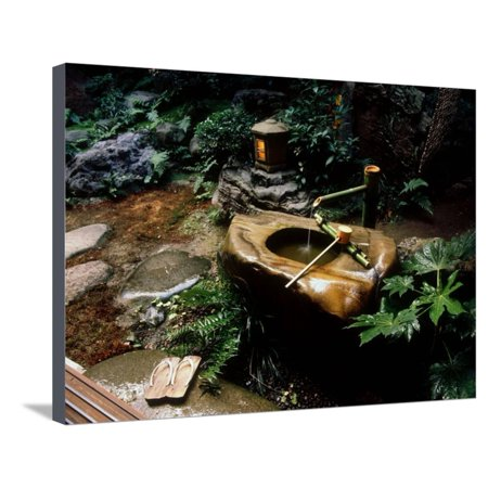Garden Basin, Old Ryokan (Inn), Kyoto, Japan Stretched Canvas Print Wall (Best Gardens In Kyoto)