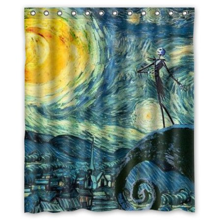 Ganma Jack Skellington The Nightmare Before Christmas Shower Curtain Polyester Fabric Bathroom 60x72 Inches