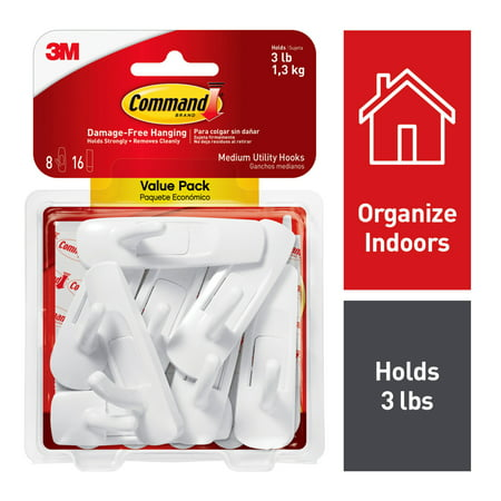 3M Command Damage-Free Medium Utility Hooks, Holds 3 lbs, Decorate without Tools, Indoor, 8 Hooks, Value Pack (17001-8ES) ()