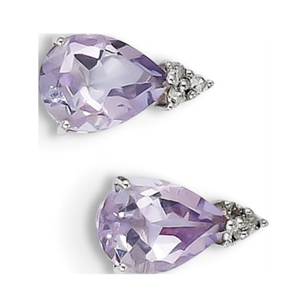 925 Sterling Silver Rhodium Diamond & Pink Quartz Teardrop Post (6x11mm) Earrings - image 2 of 2