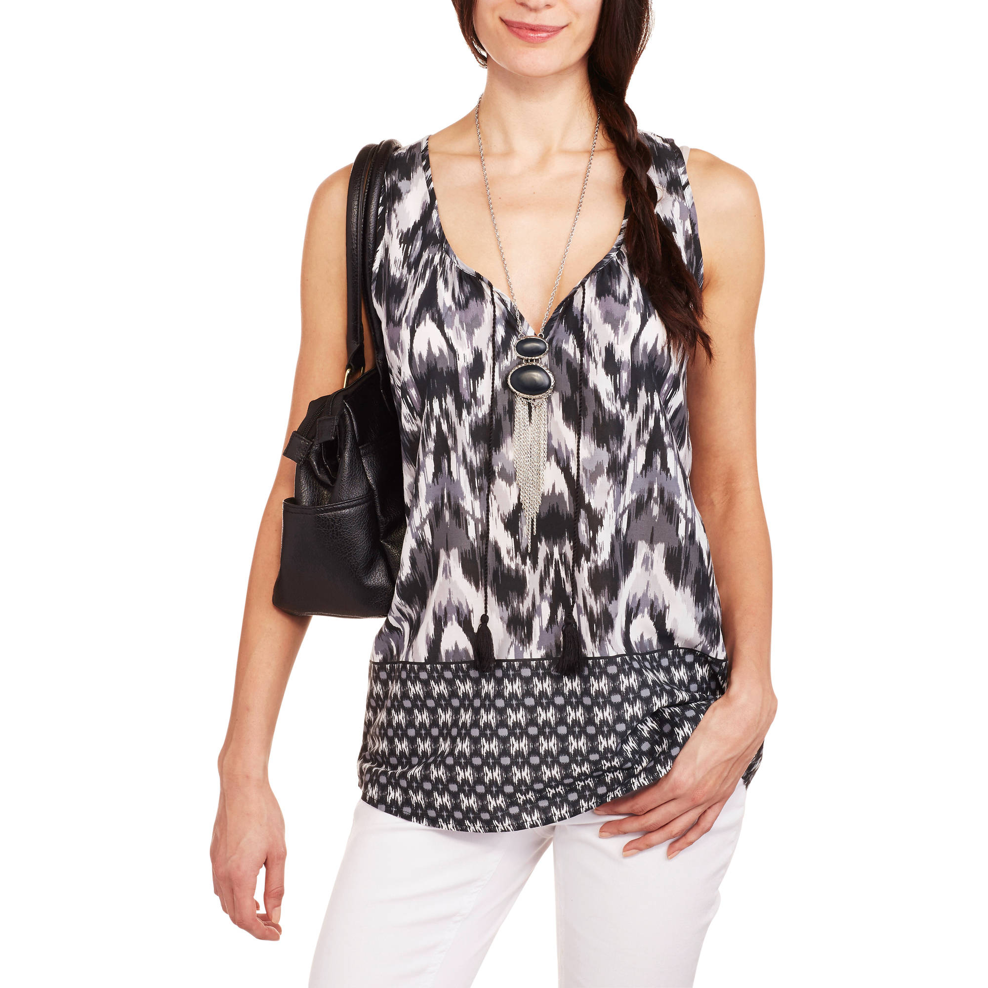 Faded Glory Women's Woven Sleeveless Peasant Top with Tassel Detail