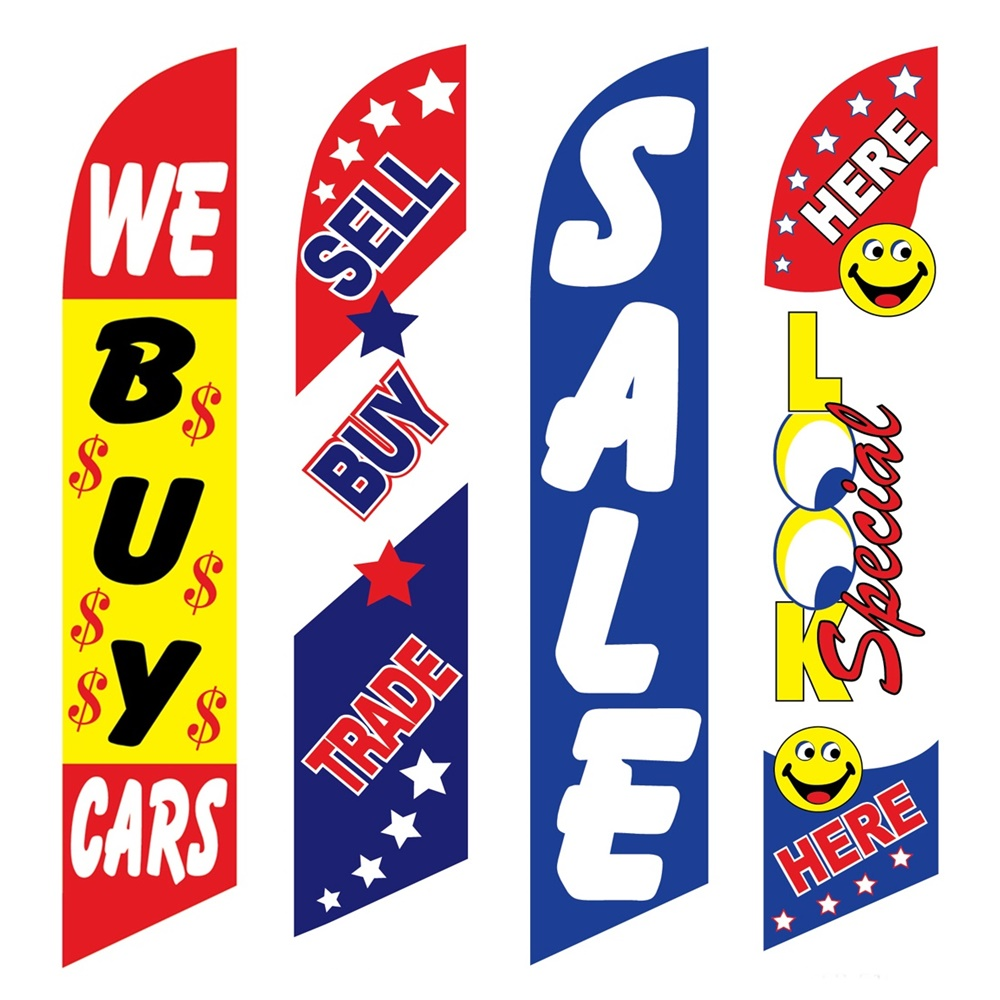 4 Advertising Swooper Flags We Buy Cars Sell Buy Trade Sale Look Special Here
