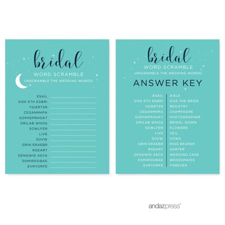 word scramble love you to the moon and back bridal shower game cards 20