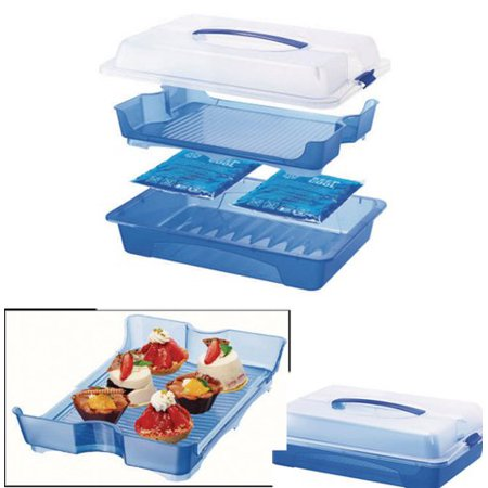 Food Carrier, Server, Platter with Cooling Packs for Picnic, Parties, Home Storage or Carrrier for Cup Cakes, Muffins, Deli Meats, Sandwiches. Keeps Them Cool and Fresh, Swiss Made