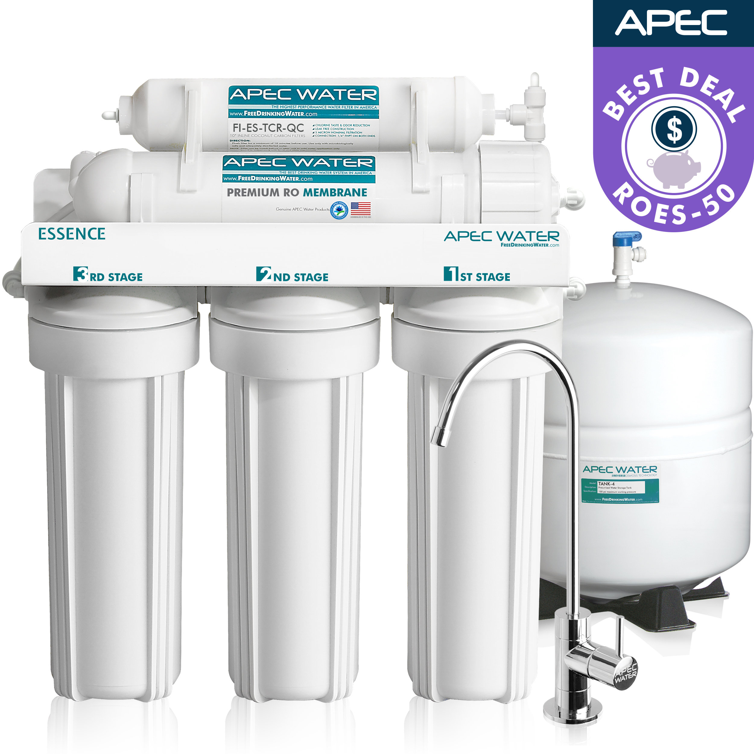 APEC Ultra Safe Reverse Osmosis Drinking Water Filter System (ESSENCE ROES-50) by