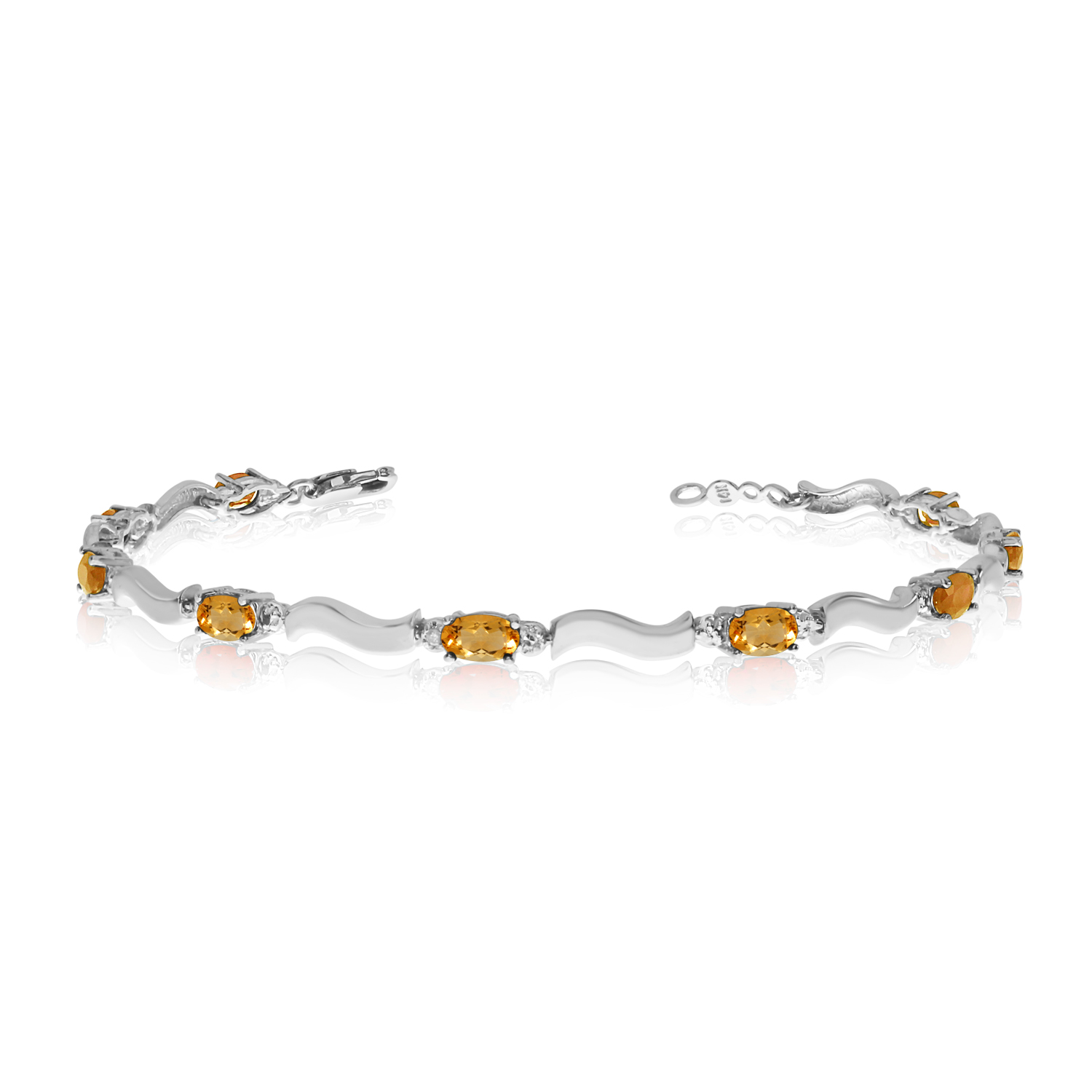 14K White Gold Oval Citrine and Diamond Bracelet by