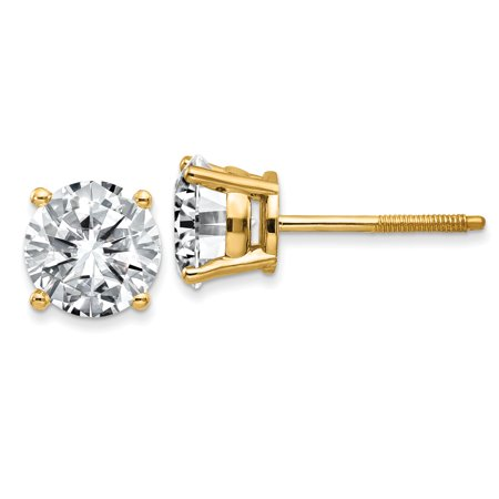 14k Yellow Gold 8.0mm Round Moissanite 4-Prong Basket Screw Back Earring 3.8