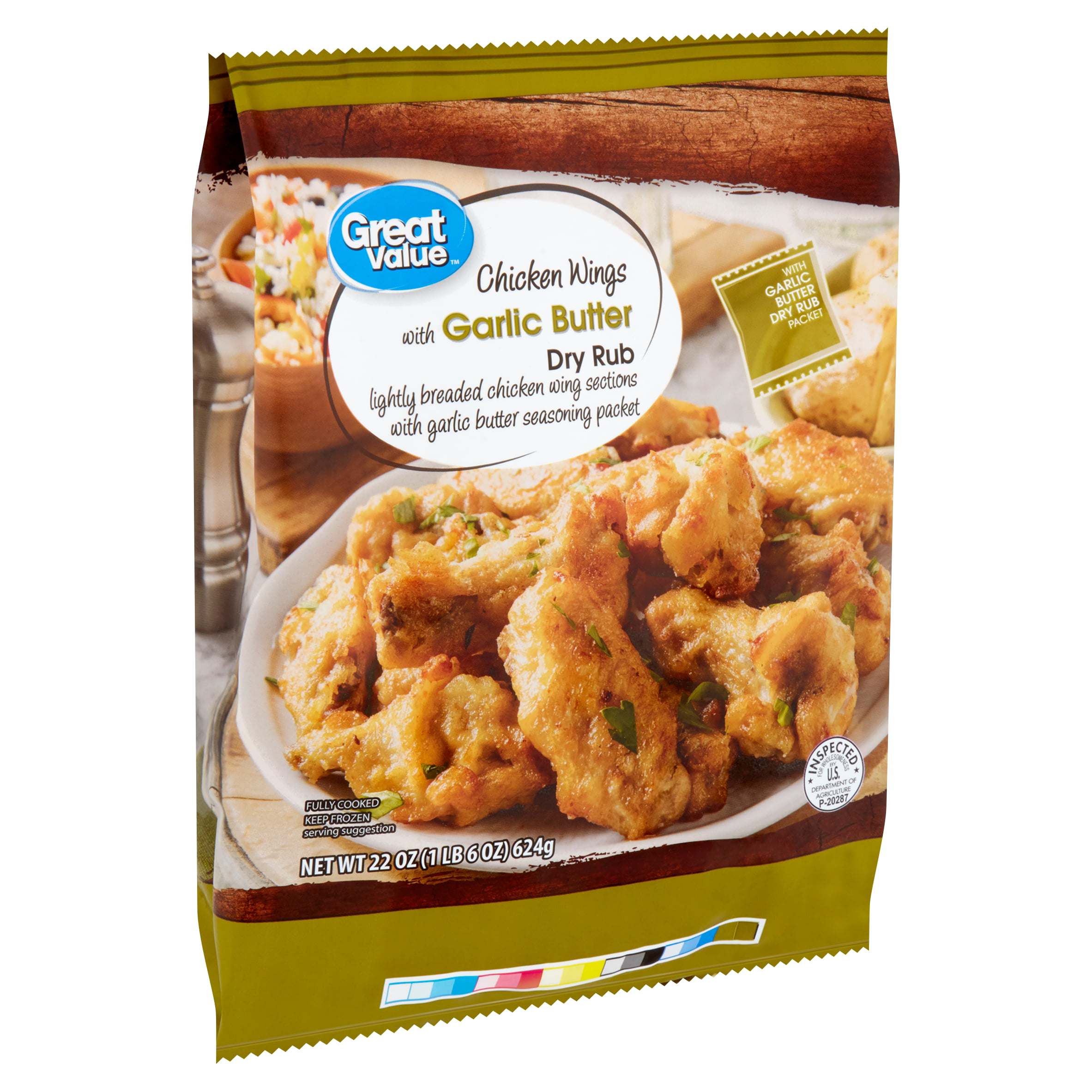 Great Value Chicken Wings With Garlic Butter Dry Rub 22 Oz