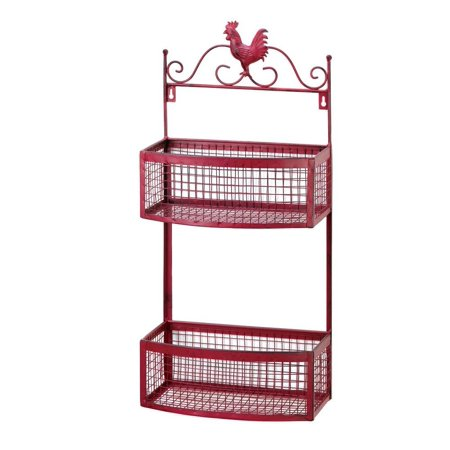 Wall Mounted Rack  Red Rooster Double Metal Large Storage Home Wall Mount Rack